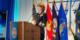 Vice Adm. Nancy Norton, USN, pictured at DCOS, looks to the National Background Information System, which DISA built and will operate, to advance the country¹s efforts in federal background investigations. Credit: Mike Carpenter