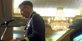 Maj. Gen. Stephen Fogarty, USA, commander, U.S. Army Center of Excellence, speaks at TechNet Augusta on August 2, 2016.