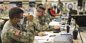 U.S. Army soldiers and Defense Department contractors collaborated at Yuma Proving Ground, Arizona, during Project Convergence 20 to initiate testing exercises for new multidomain operations weapons systems. U.S. Army photo by Daniel J. Alkana, 22nd Mobile Public Affairs Detachment