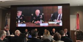 From left, the Army's Maj. Gen. Patricia Frost, Maj. Gen. John Morrison, and Maj. Gen. David Lacquement (Ret.) discuss at a recent AUSA event how the Army is integrating electronic warfare capabilities into a multifunction approach with cyber and intelligence operations.