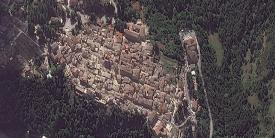 Amatrice, Italy, as seen on August 24, 2016, 10:21 am (UTC) after a deadly 6.2 earthquake. Image collected by WorldView-2. © European Space Imaging