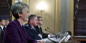 Heather Wilson, secretary of the Air Force; Gen. David L. Goldfein, USAF, Air Force chief of staff; and John H. Pendleton, director, defense capabilities and management, U.S. Government Accountability Office, speak about Air Force Readiness to the Senate Armed Services Committee. They discussed topics such as closing the maintainer's gap, training ranges and cost effectiveness in logistics. (Photo by Wayne Clark)