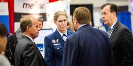 While on active duty as deputy commandant of mission support for the U.S. Coast Guard, Vice Adm. Sandra Stosz, USCG (Ret.), spoke with attendees at the 2017 AFCEA Homeland Security Conference. Photo by Mike Carpenter