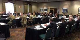 Audience members engage at the AFCEA Mission Command Industry Engagement Symposium roundtable.