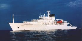 The USNS Bowditch, an oceanographic sampling and data collector of surface, mid-water and ocean floor parameters.