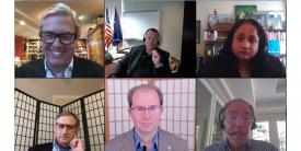 """(Clockwise from upper left) Webinar moderator James FX Payne, James P. Craft, Asha M. George, Scott Charney, David Bray and Steve Shirley discuss the findings and recommendations of the AFCEA Cyber Committee's White Paper """"COVID-19 Compels Better NSEP Planning."""""""