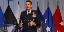 Lt. Gen. Robert Skinner, USAF, director, DISA, and commander JFHQ-DODIN, discusses the reorganization of DISA during the opening keynote of TechNet Cyber 2021 in Baltimore. Photo by Michael Carpenter