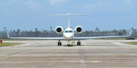 A Gulfstream C-37A taxis on the flight line at Tyndall Air Force Base, Florida, May 3, 2021, carrying Gen. Mark Kelly, USAF, commander of Air Combat Command and his team for a visit about the base's rebuild. The Air Force's innovation hub, AFWERX, is conducting a new consecutive three-part challenge to bring in solutions for flightline security, advanced sensors and communication, and aircraft maintenance. Credit: U.S. Air Force photo by Airman 1st Class Anabel Del Valle