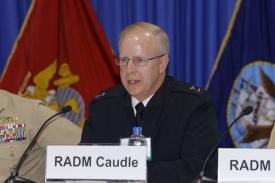 Rear Adm. Daryl Caudle, USN, commander, Submarine Forces, Pacific Fleet, speaks on a panel at West 2019. Photo by Michael Carpenter