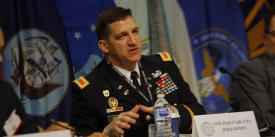 Col. Paul Craft, USA, director, Operations, J-3, JFHQ-DODIN, discusses AI and C2 during a panel at DCOS.
