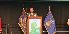 Lt. Gen. Bruce Crawford, USA, Army CIO/G-6, speaks at MILCOM 2017 in Baltimore.