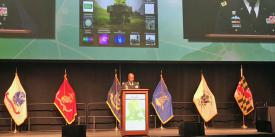 Lt. Gen. Bruce Crawford, USA, Army CIO/G-6, addresses the MILCOM 2017 audience in Baltimore.