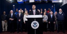 Homeland Security Secretary Jeh Johnson, joined by leadership and employees from the DHS, calls on Congress on Monday to fully fund the department.