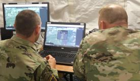Soldiers wearing TIDAM tokens could log in by getting near to a system, which would then prompt them to enter a PIN or a biometric as a second form of ID. They would be automatically logged out when they walk out of the system's range.Credit: Combat Camera, courtesy of CCDC C5ISR Center public affairs