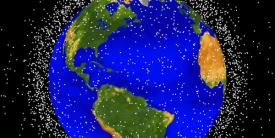 """More than 500,000 pieces of debris, or """"space junk,"""" are tracked as they orbit the Earth. They all travel at speeds up to 17,500 mph, fast enough for a relatively small piece of orbital debris to damage a satellite or a spacecraft."""