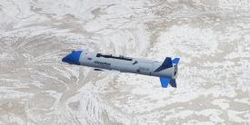 The X-61A unmanned aerial system successfully completed its second series of flight tests in July. The system is being developed by a Dynetics-led team under the Defense Advanced Research Projects Agency's Gremlins program. Photo courtesy of DARPA