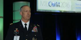 Lt. Gen. Alan Lynn, USA, director of DISA and JFHQ-DODIN, addresses cyber-based network issues at MILCOM 2016 in Baltimore. Photo by Mike Carpenter