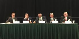 "Lt. Gen. Rhett Hernandez, USA (Ret.) (far r), AWest Point chair to the Army Cyber Institute and former commander of the U.S Army Cyber Command, moderates the ""Cyber Educator Perspective & Priorities"" panel alongside (l-r) Jim Yacone, director of federal operations, SANS Technology Institute; Michael Moniz, Circadence Corporation; David Snow, University System of Georgia; and Robert Quinn, St. Leo University."