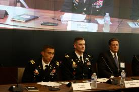 Like the assimilation of other weapons, integrating cyber, electronic warfare and information warfare capabilities into the Army requires a warfighter's mentality, says Col. Paul Stanton, USA, commander, Cyber Protection Brigade (l). Photo credit: Anna Neubauer