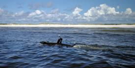 The U.S. Naval Research Laboratory (NRL) Ocean Sciences Division tests the Mantas unmanned surface vehicle's ability to conduct a detailed survey near Panama City Beach, Florida. The Navy is relying on help from the NRL and other laboratories to build a cadre of unmanned vehicles as a fleet multiplier. Credit: NRL/Daniel Parry