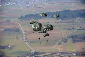 U.S. Soldiers assigned to 1st Battalion, 10th Special Forces Group (Airborne) guide their parachutes over a drop zone in near Stuttgart, Germany in 2015. The Special Forces Command is looking for key digital technologies to aid its operations across the globe. Credit: U.S. Army photo by Visual Information Specialist Jason Johnston