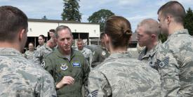 """Chief of Staff of the Air Force Gen. David Goldfein, USAF, speaks to airmen at Joint Base Lewis-McChord, Washington, in June 2018. With the advent of the COVID-19 pandemic, Gen. Goldfein is taking steps as part of a second retooling effort for the service to operate over the next year under the """"new abnormal"""" environment. Credit: U.S. Air Force photo by A1C Sara Hoerichs"""