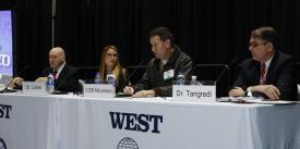 WEST 2020 panelists discuss AI. Photo by Michael Carpenter