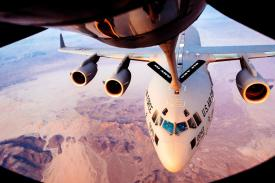 A C-17 Globemaster III from the 452nd Air Mobility Wing receives fuel from a KC-135 Stratotanker from the 912th Aerial Refueling Squadron during a refueling mission over Arizona in July. Airmen of the future will be called upon to be more agile and be more versatile in their skill sets and capabilities, reports AFIMSC Commander Maj. Gen. Bradley Spacy, USAF. U.S. Air Force photo by Staff Sgt. Jordan Castelan