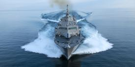 The U.S. Navy commissioned the littoral combat ship (LCS) USS Wichita, LCS-13, on January 12. Lockheed Martin Corp. and its team, including Fincantieri Marinette Marine, built the Freedom-variant ship, pictured conducting acceptance trials in Lake Michigan in July 2018. The Navy has tapped the team to build an additional Freedom-variant ship, LCS-31, under a contract option exercised on January 15. U.S. Navy photo courtesy of Lockheed Martin Corp.