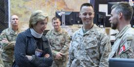 Undersecretary of Defense for Acquisition and Sustainment Ellen M. Lord, who spoke to WEST attendees via video link, meets key staff members of the Combined Joint Task Force–Operation Inherent Resolve in Iraq. U.S. Army photo by Staff Sgt. Desmond Cassell