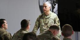 Gen. Paul M. Nakasone, USA, tells Army National Guard soldiers U.S. Cyber Command is only as good as all the components, including Active, Reserve and National Guard. Photo by Steven Stover, 780th Military Intelligence Brigade