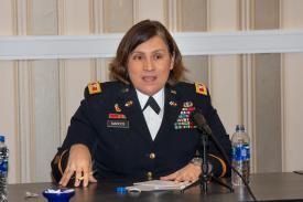 Col. Nora Marcos, USA, chief of staff for the Army's Network Cross-Functional Team, participates in AFCEA Belvoir Industry Days, sharing her perspective on what the Army needs from industry. Credit: Michael Carpenter