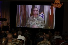 Lt. Gen. Ted Martin, USA, appears via video at TechNet Augusta 2021. Photo by Michael Carpenter