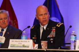 Maj. Gen. John Morrison Jr., USA, commanding general of U.S. Army Cyber Center of Excellence and Fort Gordon, speaks at MILCOM 2016. Photo by Mike Carpenter