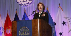 Vice Adm.Nancy Norton, USN, director, DISA, and commander, JFHQ-DODIN, addresses the TechNet Cyber conference. Photo by Michael Carpenter