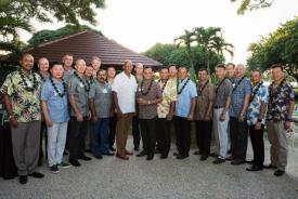Air chiefs from countries across the Indo-Pacific region join Commander of Pacific Air Forces (PACAF) Gen. Charles Brown, USAF, (c, in white shirt) at Joint Base Pearl Harbor-Hickam, Hawaii, in December for the 2019 Pacific Air Chiefs Symposium hosted by PACAF Headquarters. During his role as PACAF commander, the general made building relationships with allies and international partners across the region a priority, as a deterrence against adversaries. Credit: U.S. Air Force photo by Staff Sgt. Hailey Haux