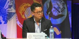Michael Chung, head of solutions, government, Bugcrowd, speaks on an innovation panel at the AFCEA Defensive Cyber Operations Symposium.