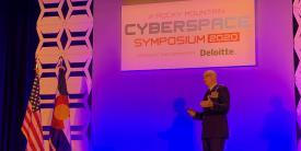 "Lt. Gen. Christopher ""Wedge"" Weggeman, USAF, deputy commander, Air Combat Command (ACC), speaks at the AFCEA Rocky Mountain Chapter's Cyberspace Symposium 2020."