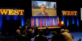 Adm. John Richardson, USN, chief of naval operations, speaks to the West 2019 audience via videoconference.