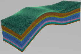 A VoroCrust mesh for a geological model can be seven layers. Sandia National Laboratories and Los Alamos National Laboratory used the software to make geological models as part of research about the geological disposal of spent nuclear fuel and high-level nuclear waste. Image created by Sandia and Los Alamos national laboratories