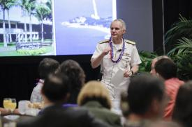 Rear Adm. Phillip Sawyer, USN, deputy commander, U.S. Pacific Fleet, speaks at AFCEA TechNet Asia-Pacific in Honolulu. Photo by Bob Goodwin