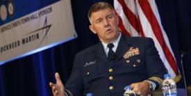 Adm. Karl L. Schultz, USCG, commandant of the Coast Guard, speaks during a panel at WEST 2020. Photo by Michael Carpenter