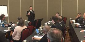 ol. Paul Stanton, USA, commander, Cyber Protection Brigade, leads his subgroup during a workshop on research and development supporting the cyber training environment and tools at the Cyber Education, Research and Training Symposium.