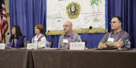 Speakers at a TechNet Asia-Pacific 2018 panel on achieving cyber resilience in the Indo-Pacific region are (l-r) Jodi Ito, ISO, University of Hawaii; Vice Adm. Nancy Norton, USN, director, DISA and commander, JFHQ DODIN; Jeff Watkins, Commercial Solutions for Classified, NSA; and John Zangardi, CIO, DHS. Credit: Bob Goodwin Photography
