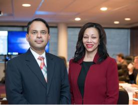 Carla Thomas, DHS industry liaison, shares some of the many ways the DHS works with industry during a briefing of the AFCEA Small Business and Homeland Security committees. She is seen here with Small Business Committee Chairman Sukumar Iyer.