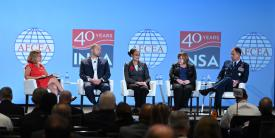 Exploring the need for intelligence in the newly emphasized space domain at the AFCEA/INSA Intelligence & National Security Summit on September 5 are (l-r) panel moderator Letitia Long, chair, INSA; Chris DeMay, founder and CTO, Hawkeye 360;v Stacey Dixon, deputy director, NGA; Tina Harrington, director, SIGINT, NRO; and Maj. Gen. John E. Shaw, deputy commander, Air Force Space Command. Credit: Herman Farrer Photography