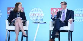 Gen. Joseph Votel, USA (Ret.), former SOCOM and CENTCOM commander, discusses the challenges facing the intelligence community with Michele Flournoy, co-founder of WestExec Advisors, at the Intelligence & National Security Summitt 2019. Credit: Herman Farrer Photography