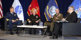 The chiefs of the sea services discuss challenges facing the services during WEST 2020. Photo by Michael Carpenter