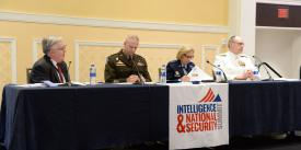 "Panelists discussing military service intelligence priorities at the AFCEA/INSA Intelligence & National Security Summit are (l-r) panel moderator Lt. Gen. Robert Noonan, USA (Ret.); Lt. Gen. Scott Berrier, USA;  Lt. Gen. Veralinn ""Dash"" Jamieson, USAF; and Rear Adm. Steve Parode, USN. Credit: Herman Farrer Photography"