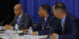 Panelists discuss STEM education and training cyber warfighters during a panel at the Defensive Cyber Operations Symposium.